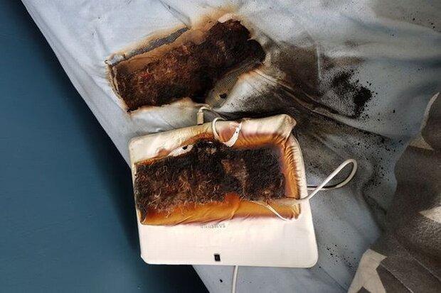 داغ شدن تبلت سامسونگ رختخواب پسربچه را سوزاند!